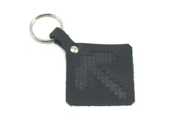 Minecraft, Leather keychain, Pickaxe from the game Minecraft