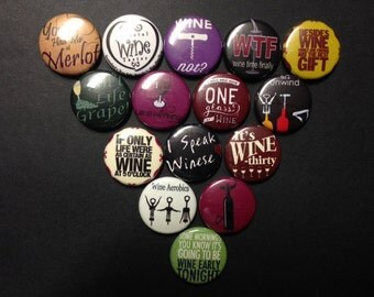 Wine Theme Buttons Set 2 Set of 15 Buttons