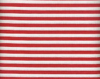 V.I.P. by Cranston Red and White Stripe Cotton Fabric by the yard Red and White stripped cotton fabric Red and White stripes cotton fabric