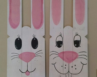 Easter Bunny Hand-Painted Reclaimed Wooden Sign-Ships FREE!