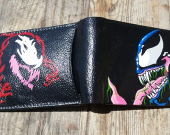 Hand Painted Carnage VS Venom Leather Wallet, Carnage Wallet, Venom Wallet, Marvel, Comic Book, Leather Wallet