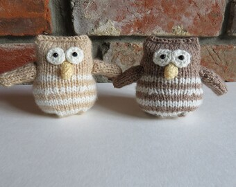 Soft Stripey Brown Hand Knitted Owl