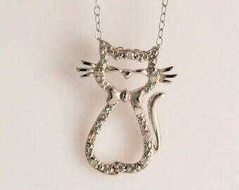 Cute Sterling Silver Diamond Cat Pendant