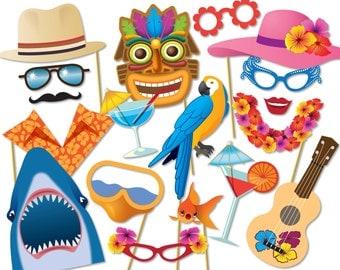 Hawaiian photo booth props, Luau photo booth party props, Hawaiian party decorations, Summer beach party photo booth props - 0195