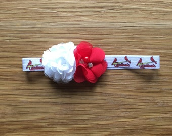 St Louis Cardinals Headband, St Louis Cardinals Elastic Ribbon, Stl Cardinals Elastic Headband - Baby - Toddler - Child - Adult
