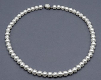 Japan 8mm White Faux Pearl Necklace