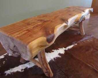 Cedar Half Log Dining Bench