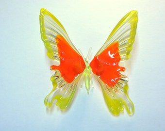 Glass Yellow-Orange Tropical Butterfly Figurine