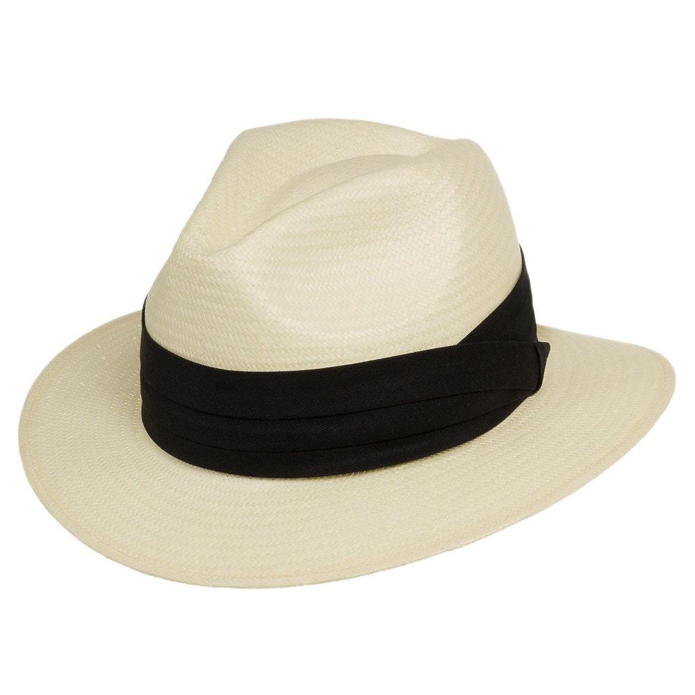 Ultrafino Monte Cristo Fedora Straw Panama Hat Ivory