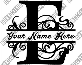 Letter E Floral Initial Monogram Family Name Vinyl Decal Sticker - Personalized Floral Name Decal