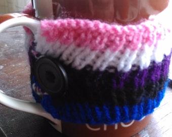 Genderfluid Pride Knitted Mug Cosy