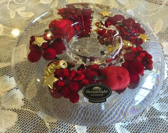 Dreamlight Xmas Berries and Roses Tealight Candleholder- Handmade in Germany