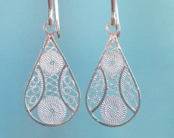 Intricate Filigree Earrings Flat Silver Earrings Silver Oval Earrings Silver Dangle Earrings Special gift for her x116
