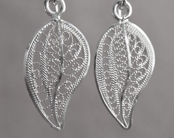 Petite Silver Leaf Earrings Filigree Earrings Filigree Jewelry Stylish Earrings Beautiful Leaf Nice Earrings Ecuador x135