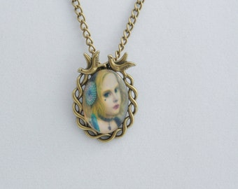 DOLL glass cabochon pendant, Kawaii Necklace, Cute Necklace, Girly pendant, cabochon glass necklace. Vintage pendant.