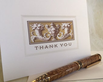 25 Blank Engraved Cards with Envelopes from the Baroque Collection in Bulk