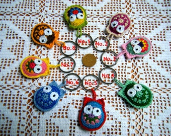 Crochet Owl Key Chain/Crochet Owl Key Ring/Crochet Owl Ornament/Cute Crochet Owl/Mini Crochet Owl