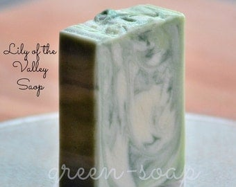Soap Bar, Bar Of Soap, Body Soap, Hand Soap, Natural Bar Soap, LILY of the VALLEY soap, white, flower, floral, lily, green, gift for her