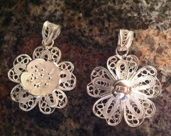 Sterling Silver Filigree Flower 22mm