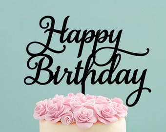 Script Happy Birthday Cake Topper