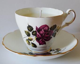 Dark Purple Rose Vintage Teacup Candle