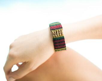 Beaded Bracelet- Multi Colored Bracelet-  Brass Cube Beads Bracelet- Woven Bracelet- B-48