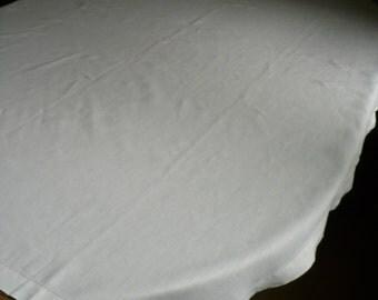 "Vintage white linen table cloth, 67"" x 50"""
