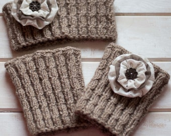 Womens boot cuffs headband set Ear warmer Wool headband Wool boot cuffs Wool headband Beige boot socks Knit wool ear warmer Gift for her