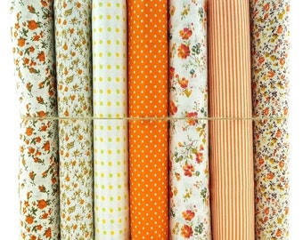 7 Orange Floral Polka Check Stripes Set 100% Cotton Fabric Fat Quarter Bundles Craft Bunting Patchwork Sewing
