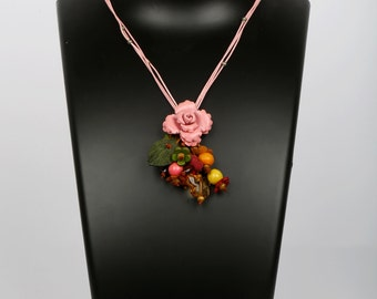 Pink Leather Flower Necklace - Small