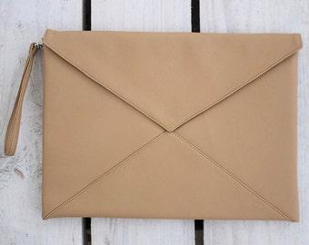 """Vegan Leather Envelope Clutch Purse Bag Handbag """"Biege nut"""""""