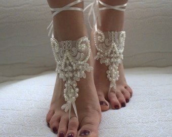 wedding shoes,summer shoes,bridal shoes,barefoot sandals,foot jewelry,Beaded ivory lace wedding sandals, free shipping!