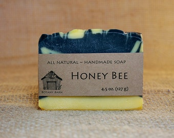 Organic Lemongrass Scented Soap, Honey Bee, All Natural Soap, Handmade Soap, Cold Process Soap, Activated Charcoal, Annatto
