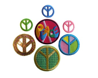 Peace Signs Embroidered Sequins Iron On Appliques Pack of 7