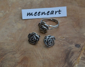 "Jewelry set ""rose"" ring and earrings"