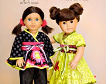 "ModKid - Mini Kyoko - Paper Sewing Pattern for 18"" doll's Kimono Style top and dress"