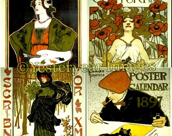 Vintage ART POSTERS - Printable Digital Images - Collage Sheets - Instant Download - 3 PNG Files 4x4. 2x2. 1x1