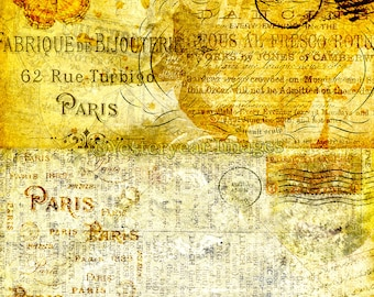 Vintage PARIS LETTERS - Printable Digital Images - Collage Sheets - Instant Download - 3 PNG Files 4x4. 2x2. 1x1