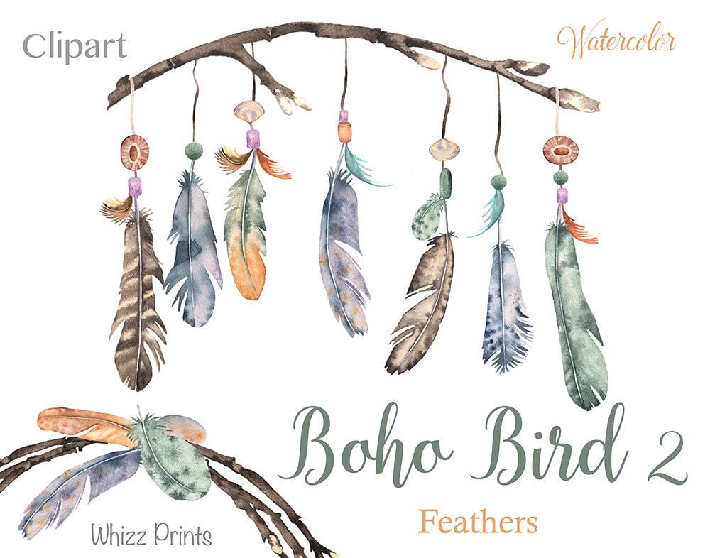 Boho Bird 2: Watercolor feather wreaths, feather ...