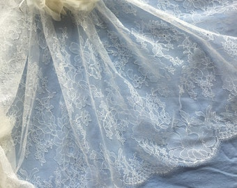 Ivory Chantilly Lace Fabric, Made & imported from France, 34 inches wide, Sold/Priced by the 1/2 yard