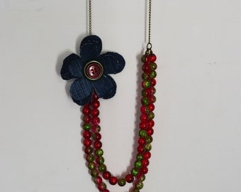 Long necklace chain, beads and fabric