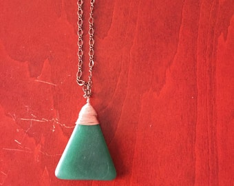 Green Glass Triangle Pendant Necklace