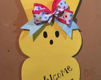 Wooden Easter Bunny Welcome Peeps Door Hanger