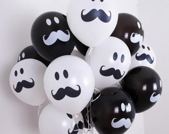 10X Black & 10X White Latex Balloons Smile Mustache Assorted Birthday Baby shower wedding Party Decorations Supplies