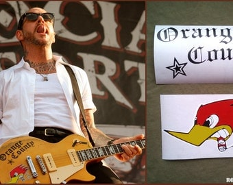 Mike Ness guitar stickers Social Distortion vinyl Orange County decal Woodpecker