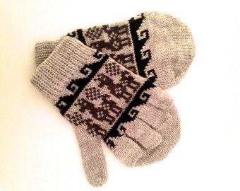 Alpaca mitten gloves