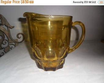 On Sale Vintage Amber Glass Pitcher