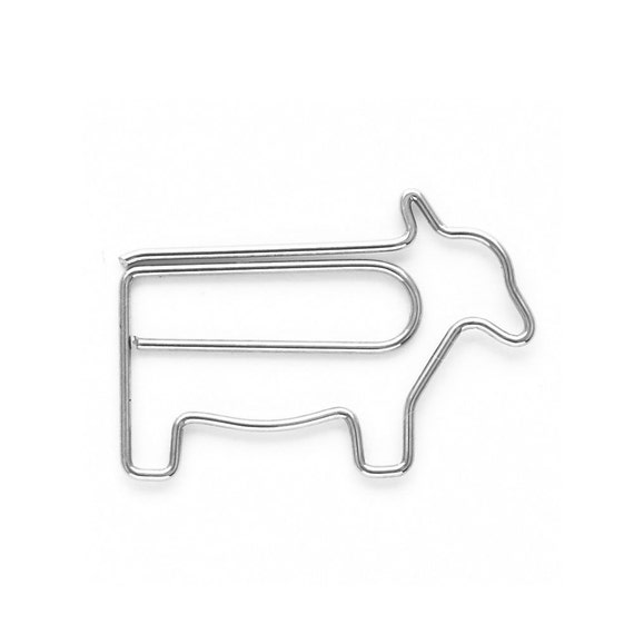 1 Cow Paper clip metal bookmark