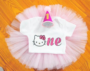 Hello Kitty First Birthday Onesie, First Birthday Onesie, One Shirt, 1st Birthday Shirt, Girls Glitter shirt