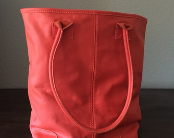 Leather, Orange Tote